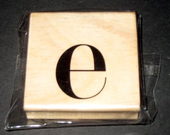 Unused Michaels Wood Mounted Rubber Stamp - Lower Case E