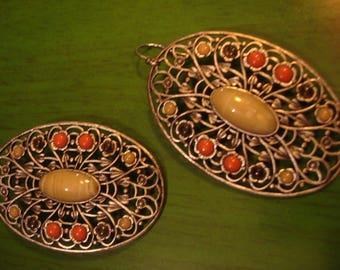 Vintage 1990s Boho Oval Multi Colored Drop Dangle Earrings