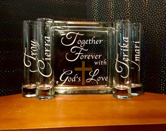 Family Blended Unity Sand Ceremony Glass Containers - Glass Block -Together Forever with Gods Love - Personalize names on vases - Gold Cross