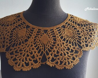 Handmade Crochet Collar, Neck Accessory, Spicy Mustard Colour,Dark Yellow, 100% Cotton