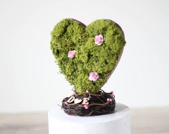Heart cake topper: Garden wedding - Moss Wedding Decorations - Outdoor Wedding decor - Fairy garden wedding - Outdoor wedding ideas