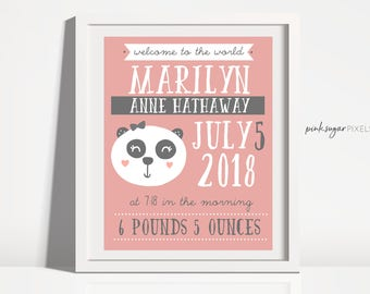 Personalized Wall Art - Nursery Wall Art - Panda Wall Art - Hand Drawn Panda- Personalized Birth Announcement - Baby Gift-Printable Wall Art