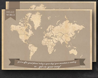 "World Travel Maps - Printable World Travel Map Instant Download - 24""x36"" Wall Art - 2 pack - With Text or Add your own text"