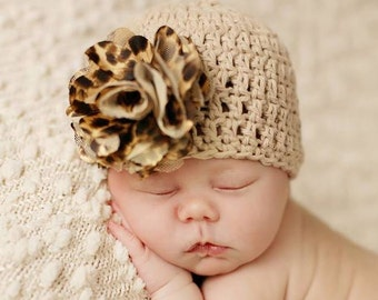 Crochet Baby Hat, Baby Girl Hat, Crochet Girl Hat, Baby Flower Hat, Animal Print Hat, Newborn Girl Hat, Infant Girl Hat, Baby Beanie,