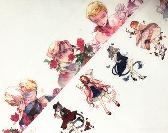 Sample - washi tape samples boys in flowers / anime kitten girls  60cm <F201>