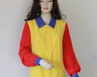 Vintage 1980's Ladies Blouse, Primary Color of Red Blue and Yellow, Bright Color Block Blouse, Silky Soft Material, Ronald McDonald Blouse