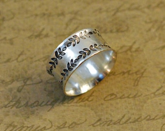 """Sterling silver ring band, 3/8"""" wide, hammered ring, hand stamped, leafy whimsical border, oxidized, simple, large, comfort fit"""