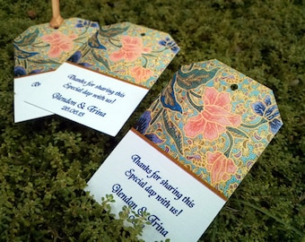 BATIK PRINT  Favor / Gift Tags.For the ethnic look. Personalized messages and colors. Set of 40.