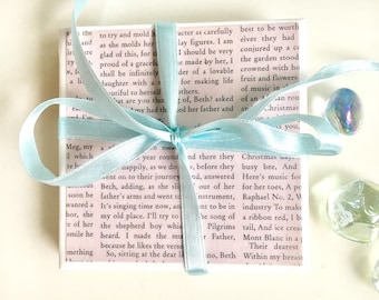 Little women coasters! Ceramic tile coasters set of 2, literary, literature, classic books, decor, taupe, Sweep Of Sand