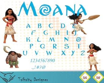Moana font svg file/ Moana alphabet svg, dxf/ Printable/ SVG cut file/ Vector/ Digital/ Print/ Instant download