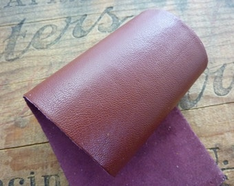 Leather Panel Leather Sheet Super Soft Kid Leather Strip 9x3inches Rust Burgundy