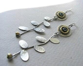 Flower dangle earrings, blue topaz earrings, long gemstone earrings, art jewelry, modern earrings, bohemian jewelry, jewelry for women