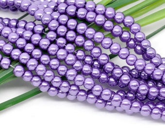 50 glass Pearl 4mm Violet set M02426 5 beads