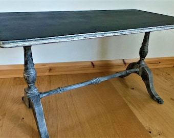 Vintage retro industrial black matt top table with distressed legs suits all styles -quirky mix