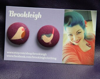 Nesting Bird Robin 23mm Button Earrings, Fabric covered, Rockabilly / Retro/ Vintage