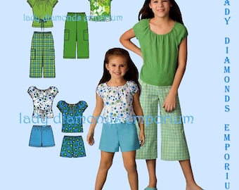 Simplicity 3743 Girls Pullover Tops Pull-on Shorts Cropped Pants Childs sizes 3 4 5 6 7 8 10 12 Easy Summer Sewing Pattern Uncut FF