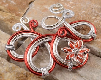 Fancy Red and Silver Flower brooch with Rhinestones