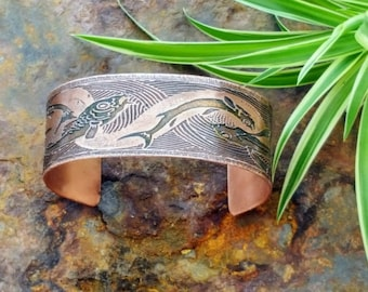 Etched copper bracelet with Art Nouveau Fish design - etched bracelet - Boho bracelet design - Birthday gift - Gift for her - Boho Wedding