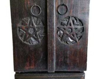 Wooden Pentagram Cupboard Wood Apothecary Chest Wicca Pagan Altar Storage  Free Domestic Shipping!