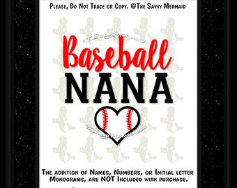 Baseball Nana SVG file- T-ball Nana SVG file- T-ball Nana Shirt Svg- Baseball Nana Shirt Svg- Cricut Baseball- Dxf Silhouette- Iron on