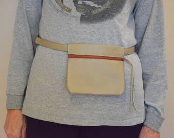 Leather waist bag, Fanny pack Travel bag. Hip poch