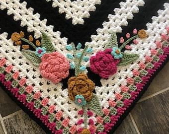 Crochet Pattern - INSTANT PDF DOWNLOAD - Crochet Flowers - Floral Appliqué - Crochet Applique - Flowers