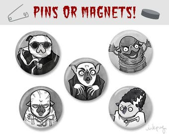 Creature Feature Halloween pug pins or refrigerator magnets, cute Halloween accessories, classic horror movie monster pugs, Inkpug