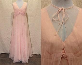 1970s Bubblegum Pink Sheer Maxi Formal Dress W/Transparent Overshawl Size S/M
