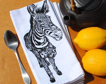 Table Napkins - Cotton Napkins with a Zebra with a Camera - Washable Reusable - Animal Dinner Napkin Set - Funny Napkins