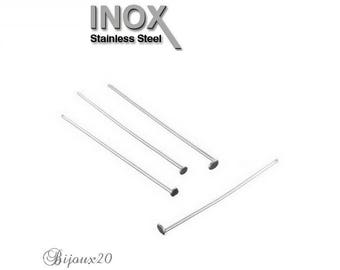 flat stainless 25x0.6mm 100 nail head studs attached stainless steel set M01423