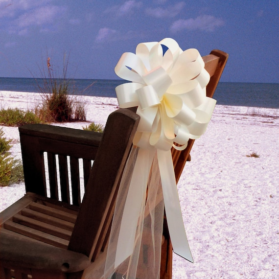 Church Pew Decorations For Weddings: 10 Ivory Pew Pull Bows Tulle Beach Wedding Decorations Church