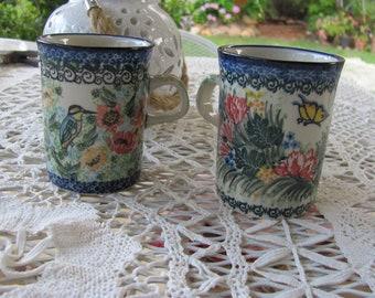 UNIKAT Starzyk and Liana Coffee Tea Mugs, Hand Made Poland, #3282 and ?