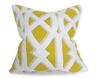 Yellow Throw Pillow, Spring Pillows, Cushion Covers, Geometric Pillow, Chartreuse, Yellow White Pillow, Trellis Pillow, Lattice, 12x18, 18