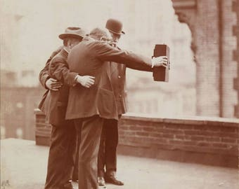 Vintage photo photographer with antique camera selfie men photographing old photograph 1900s hipster gift  PRINT poster