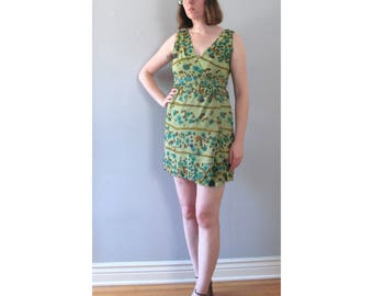 50s green dress - vintage abstract painterly floral print jewel tone rhinestone cocktail party retro wiggle fit sleeveless mid century small