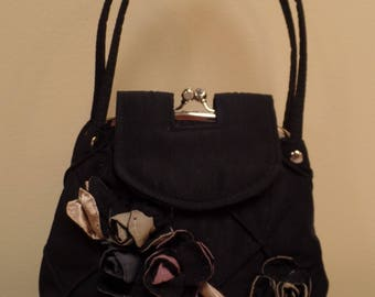 Fabric Flowers on Purse, Silver Gold Mauve Flowers on Purse, Black Double Handles Silver Kiss Clasp and Magnetic Closure