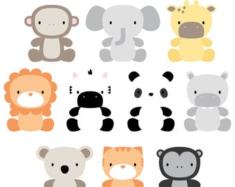 Oh So Cute Jungle Digital Clipart Clip Art Illustrations - instant download - limited commercial use ok