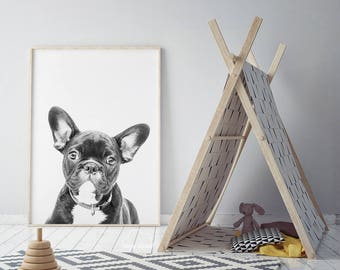 French Bulldog Print, Wall Art Photo, Animal Print, Nursery Decor, Modern Minimal, Instant Download, Puppy Photo, Pet Home Decor, Cute Dog