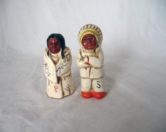 Pow - 1960s Native American salt pepper shaker set