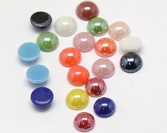5 Pearl multi color 14 mm glass dome cabochon