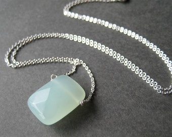 Pale Blue Pendant Necklace, Silver Chain Necklace, Light Aqua Faceted Glass Rectangle Pendant, Handmade, Skylight