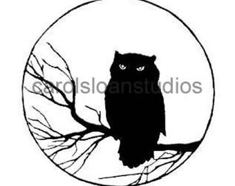 Thermofax Screen Owl Moon