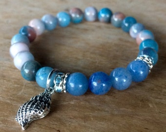 Ocean colors stretch bracelet set, yoga bracelet with dyed jade beads and matching earrings