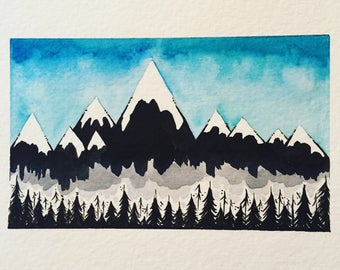 Winter - Tiny Mountains Original Watercolor + Ink Painting