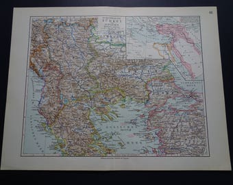 Vintage albania map etsy turkey antique map of ottoman osman empire in europe in 1913 vintage old detailed print small gumiabroncs Choice Image