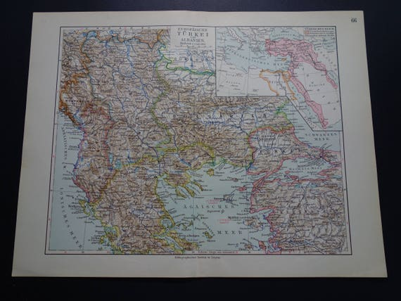 Turkey antique map of ottoman osman empire in europe in 1913 like this item gumiabroncs