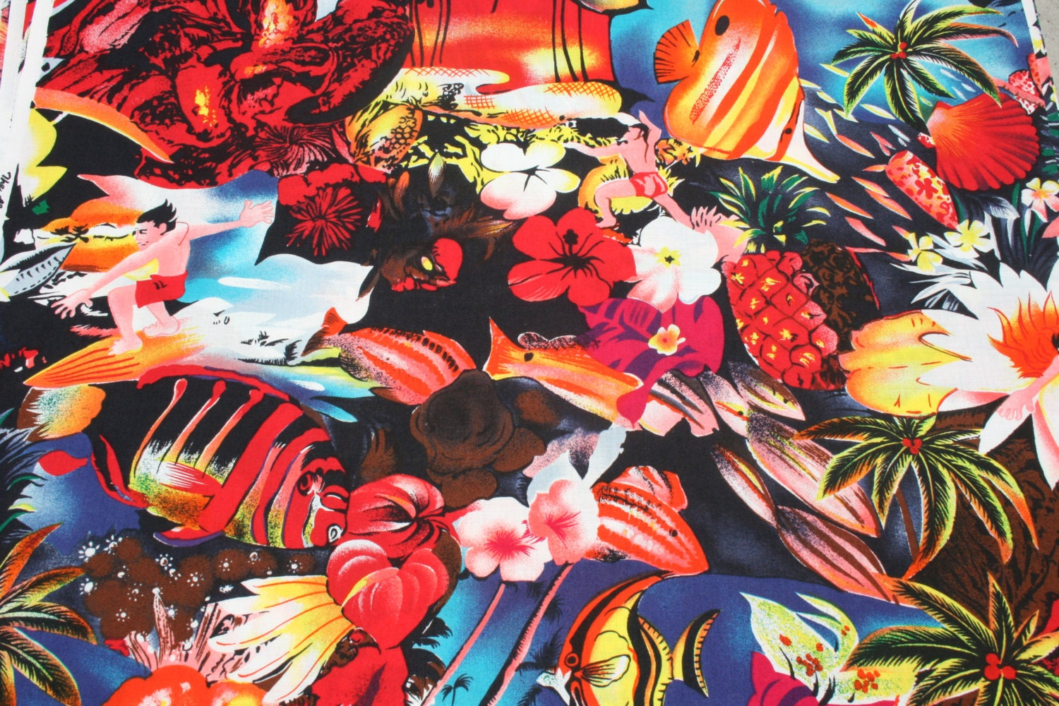 Vintage Tropical Fish Cotton Fabric, Hawaiian Flower Surfer Sewing ...