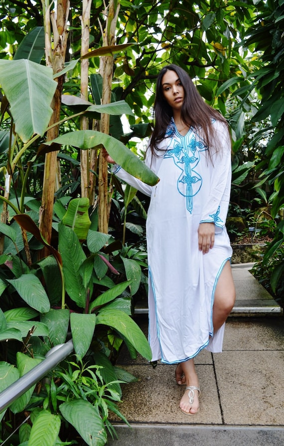 Kaftan White Moroccan Caftan Kaftan Dress - Bedouin Style-loungewear ,resortwear,spa robe, for Birthdays or Maternity G