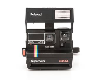 Polaroid 600 Supercolor 635CL Instant Camera - Black Body Rainbow Stripe - Film Tested and Working
