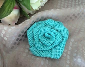 Flower 6 cm turquoise burlap
